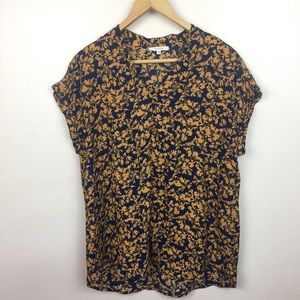 Pleione Navy Gold Floral Roll Sleeve Top Small
